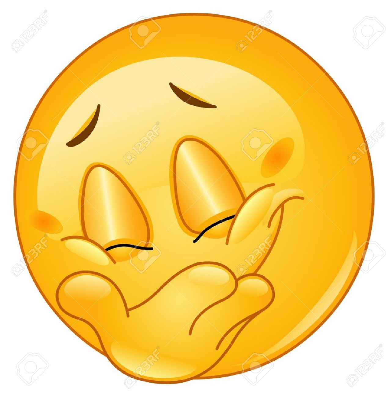 Emoticon hiding his smile Giggle Clipart