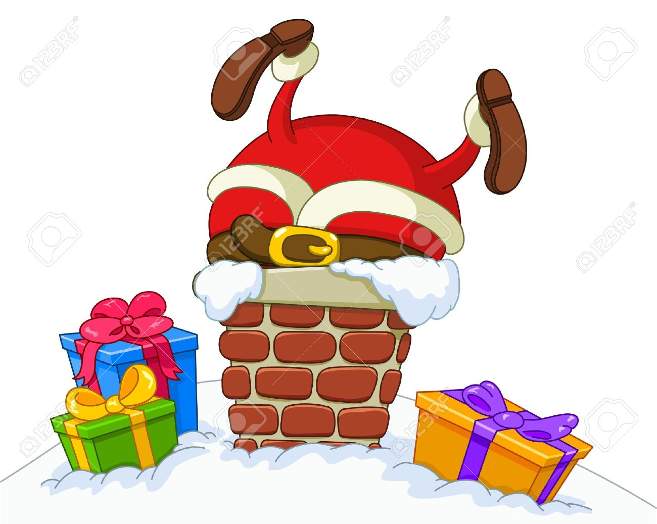 santa claus stuck in a chimney stock vector 11376110