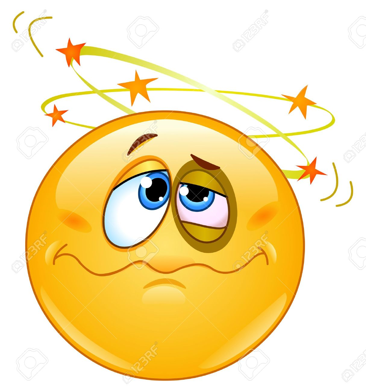 Beat Up Emoticon Seeing Stars Above His Head Royalty Free Cliparts