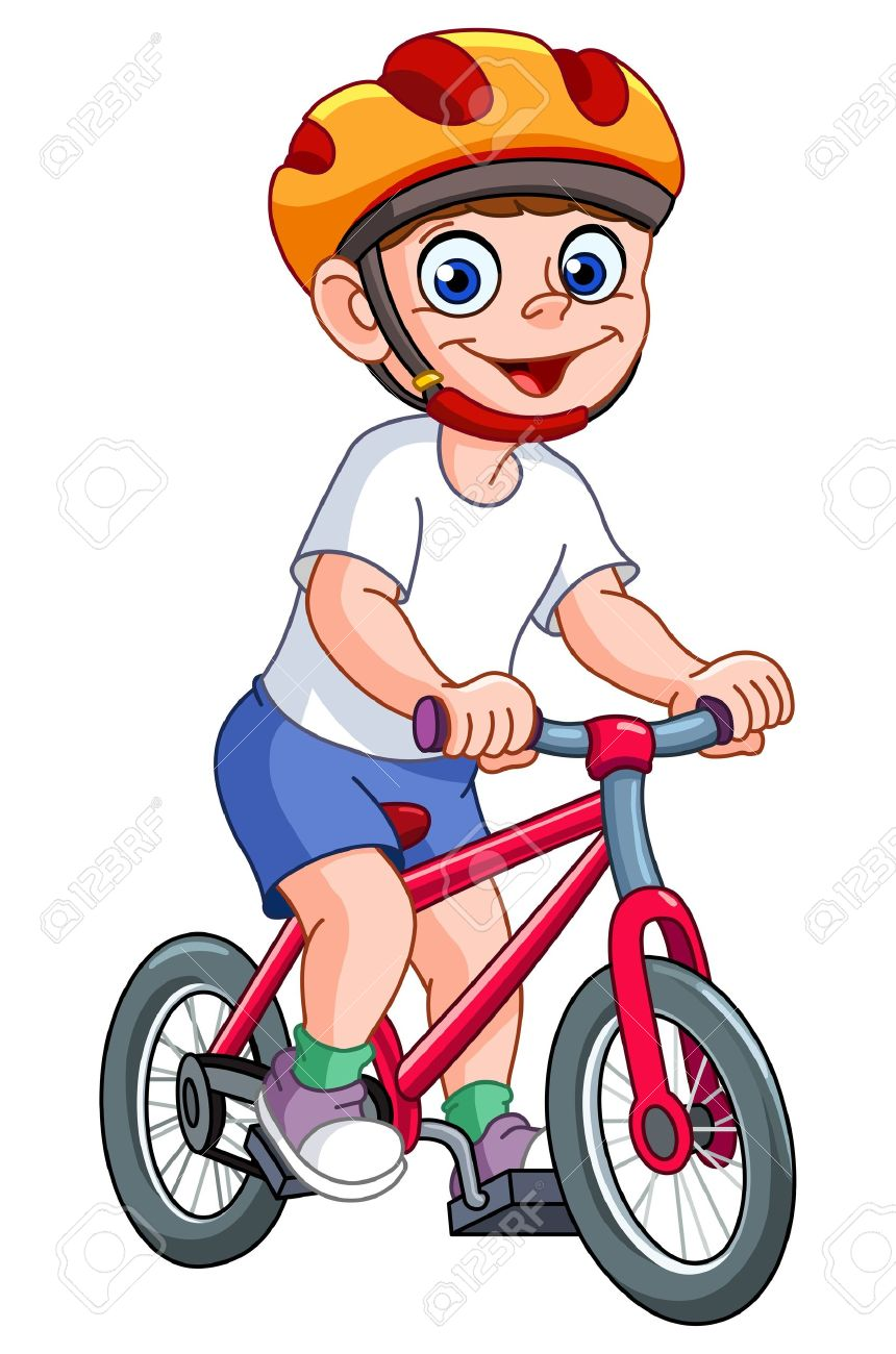Cute Kid Riding His Bicycle Royalty Free Cliparts Vectors And