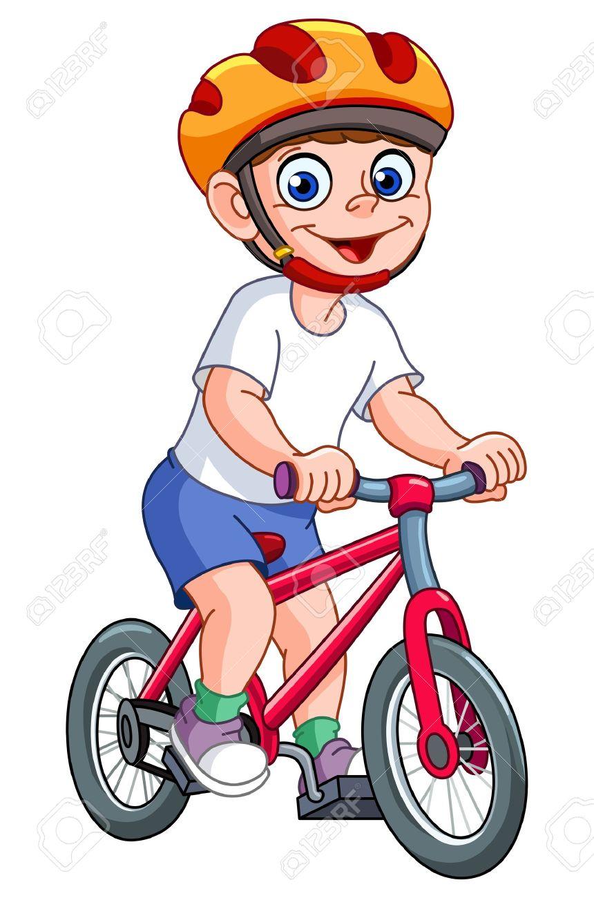 Cute Kid Sur Son Velo Clip Art Libres De Droits Vecteurs Et