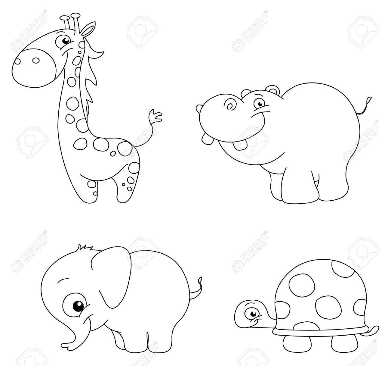 Conjunto Se Indica Lindo Animal: La Jirafa, El Hipopótamo, El ...