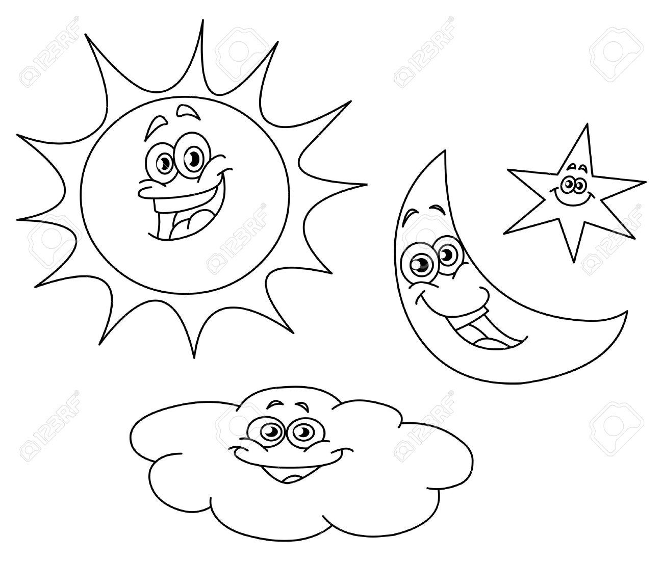 Asombroso Páginas Para Colorear De Sol Y Luna Para Niños Colección ...