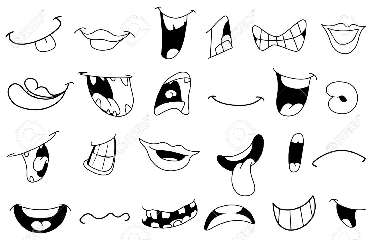 Outlined cartoon mouth set Stock Vector - 13677717