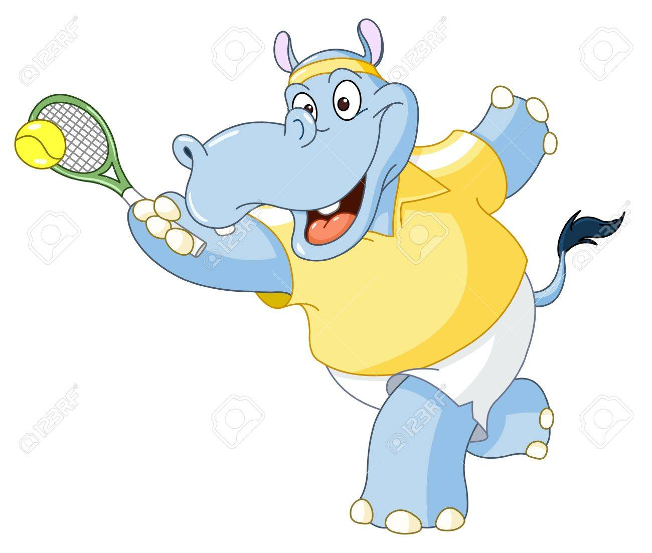 Tennis hippo Stock Vector - 14396172