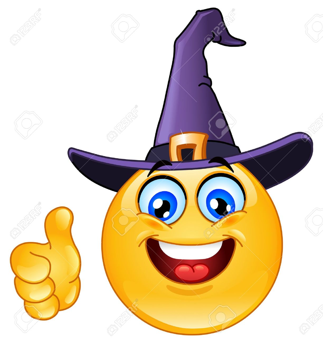 Emoticon with witch hat showing thumb up Stock Vector - 15584126