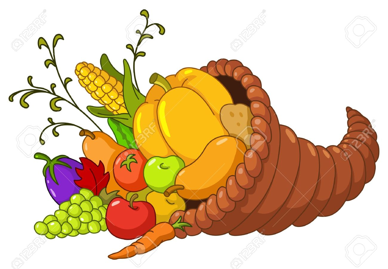 horn of plenty cornucopia with autumn fruits and vegetables
