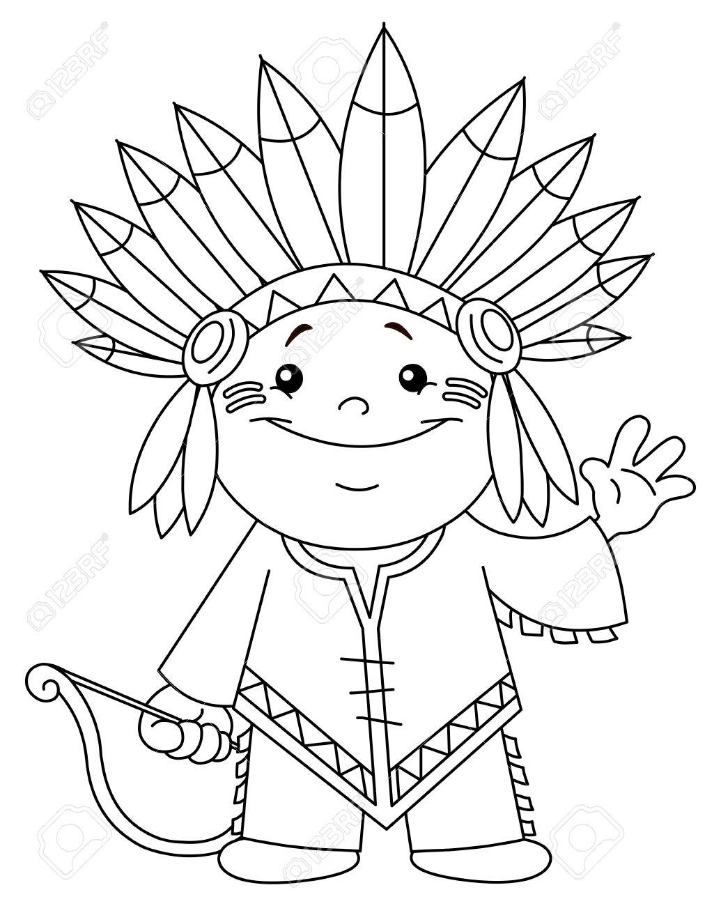 Niño Indio Contorneada Para Colorear Ilustraciones Vectoriales, Clip ...