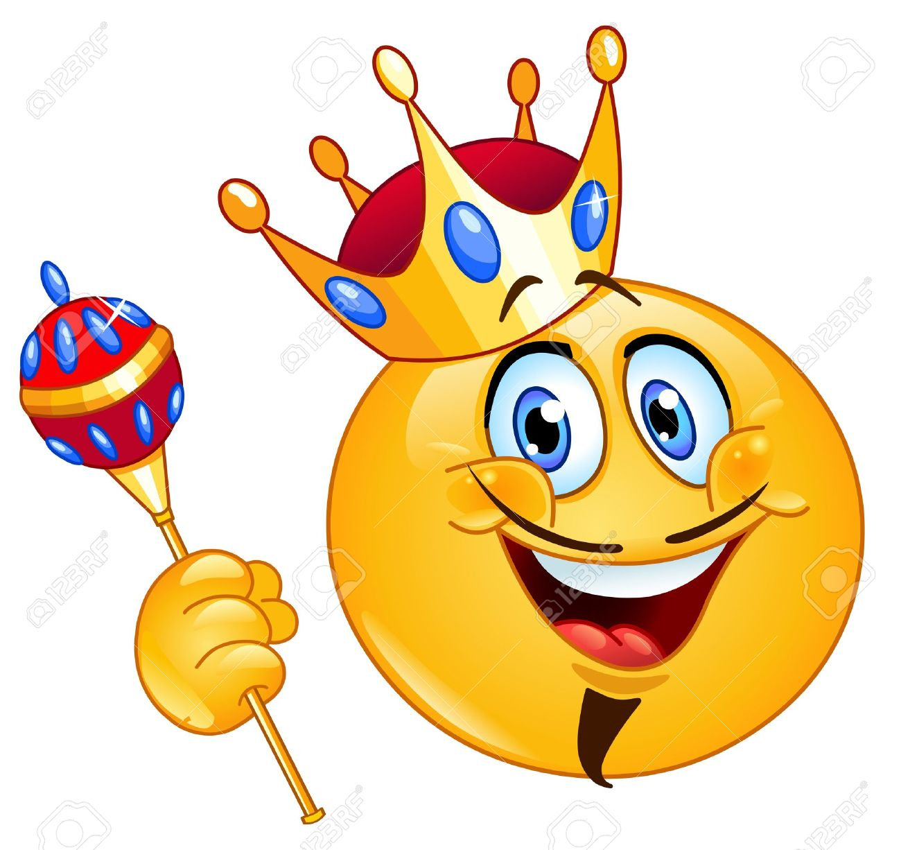 King emoticon holding a scepter Stock Vector - 16004962