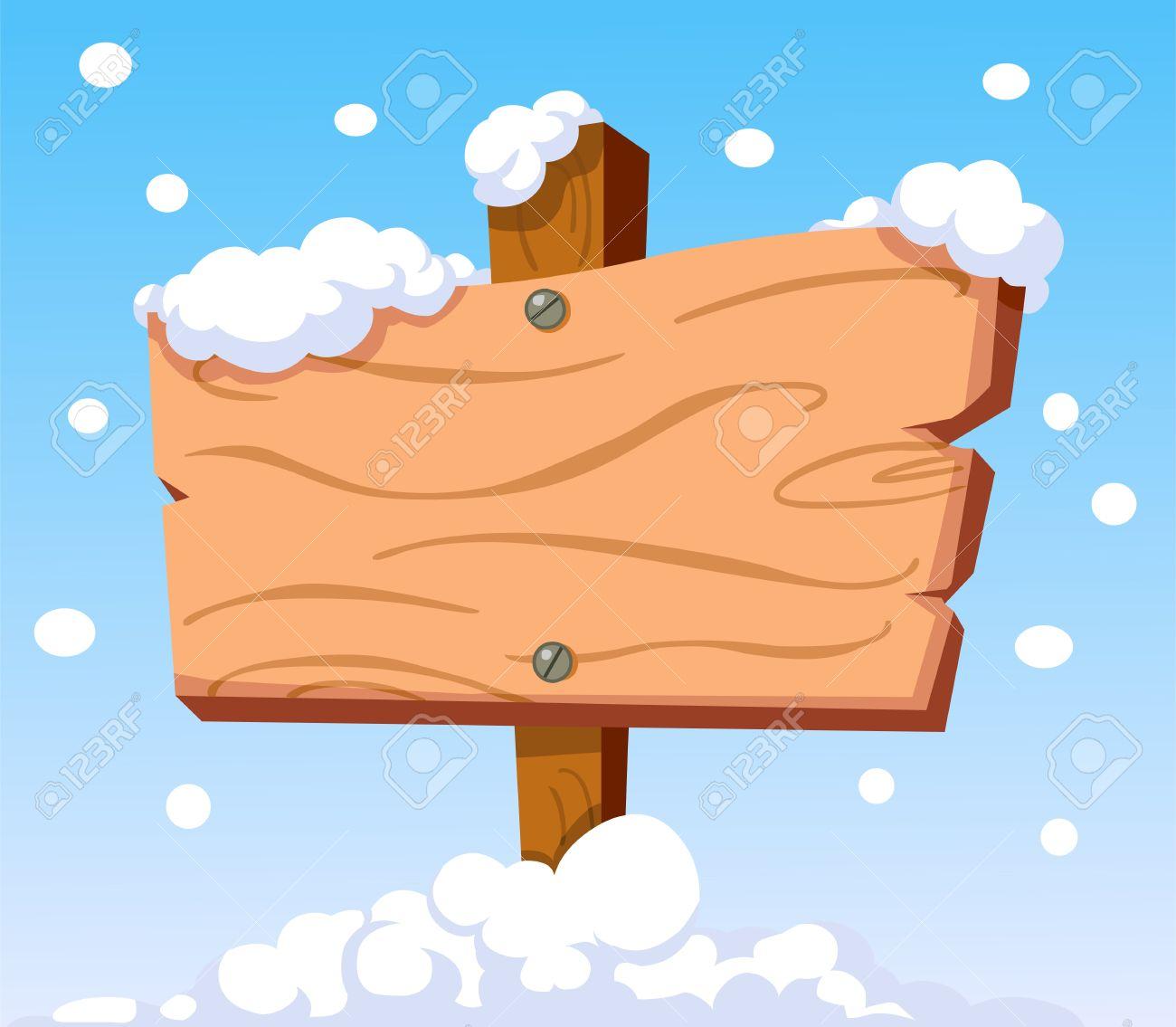 Cartoon wooden sign in the snow Stock Vector - 16215398