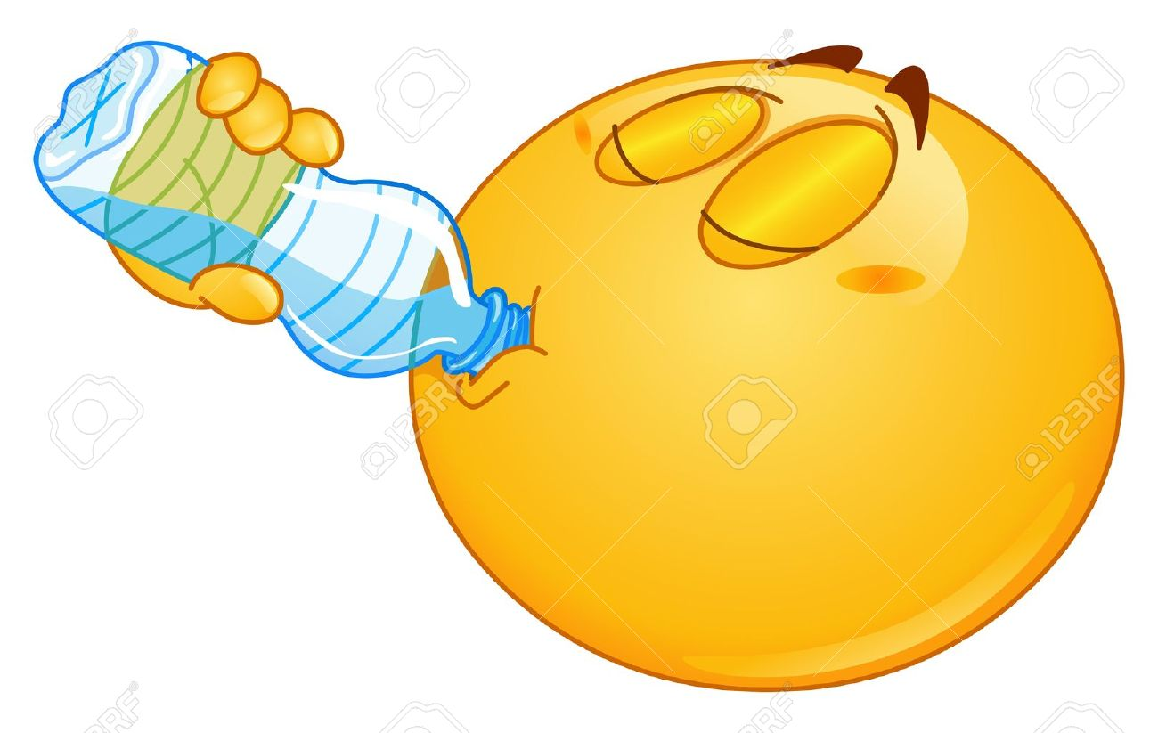 Emoticon drinking water from a bottle - 16331870