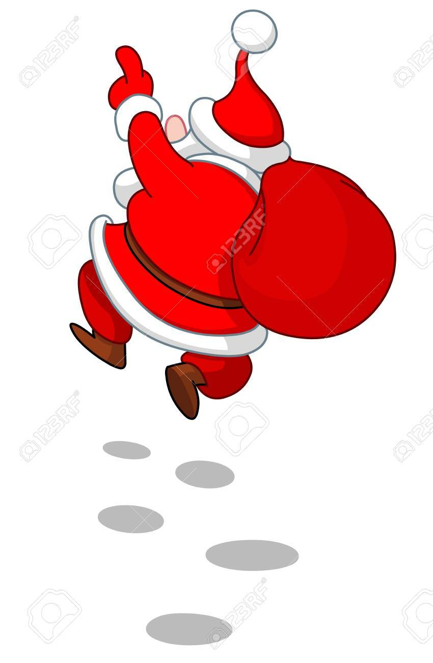 Rear view of cheerful Santa Claus skipping in the snow Stock Vector - 16449295