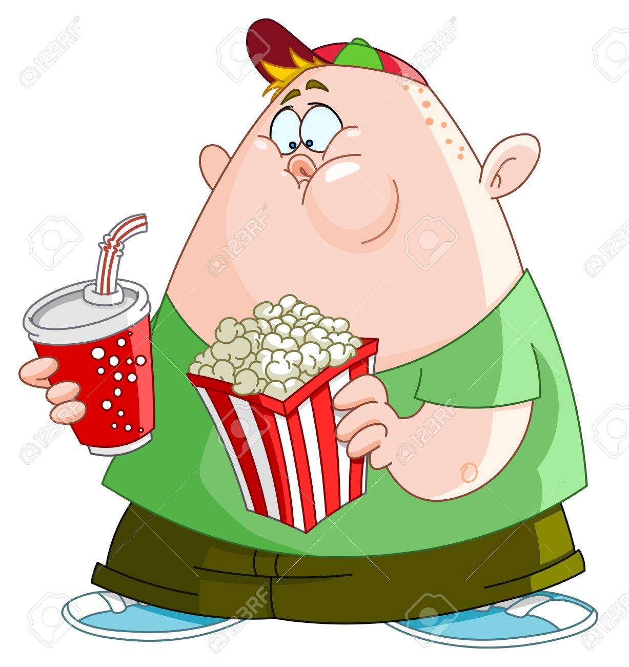 cartoon food fat kid with popcorn and soda