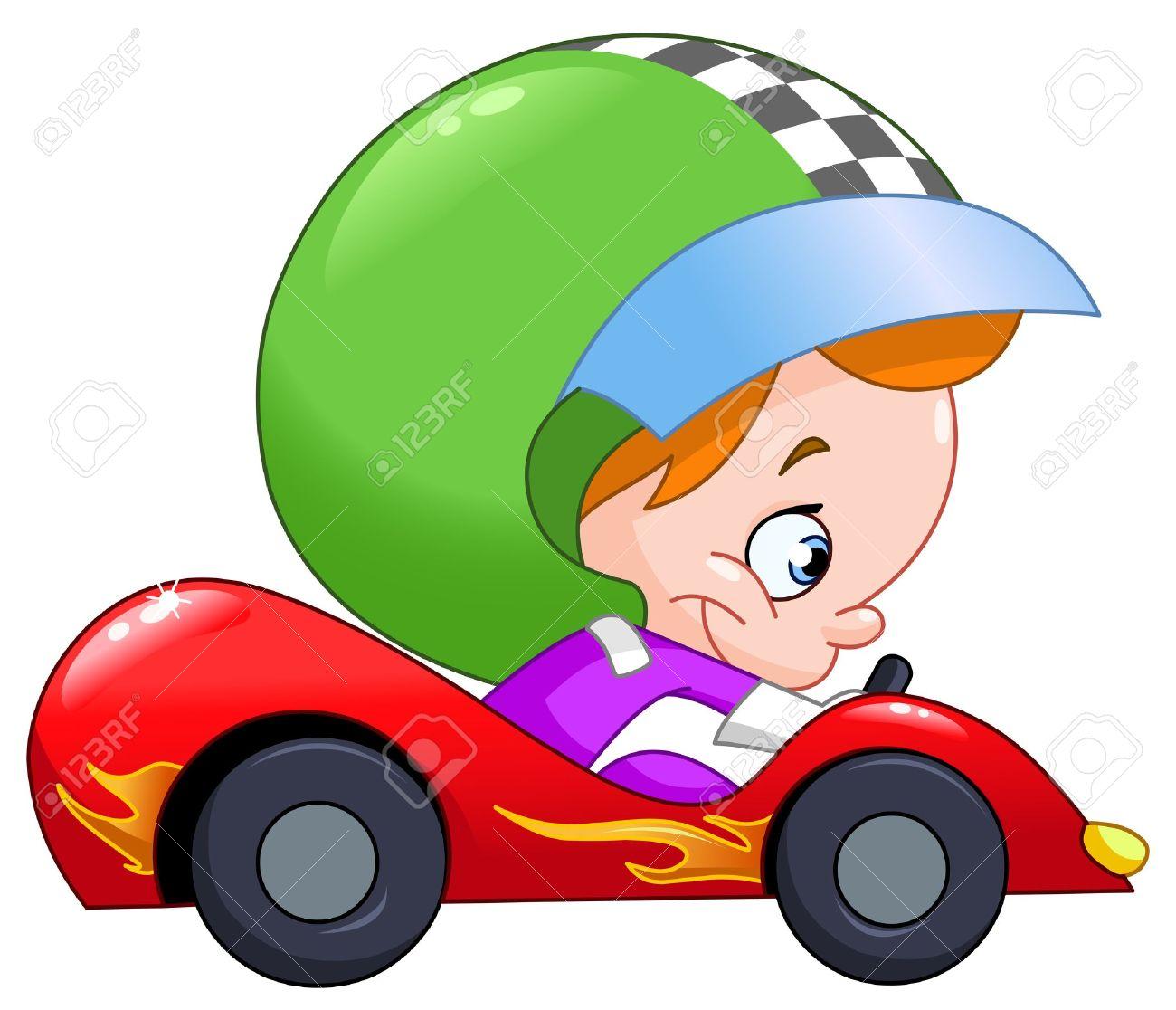 young kid driving a race car royalty free cliparts vectors and rh 123rf com race car clip art free race car clip art for free download