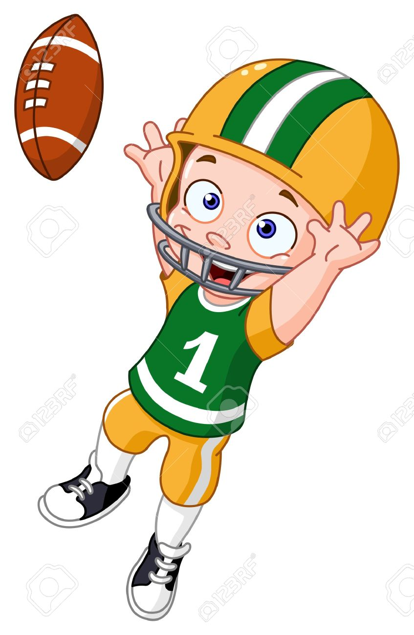 young kid playing american football royalty free cliparts vectors rh 123rf com american football clip art free american football field clipart