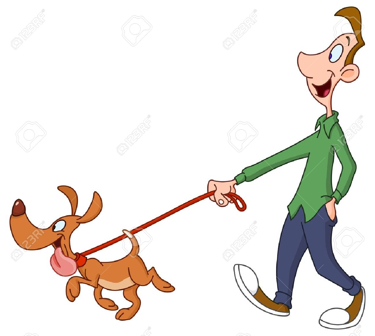 man walking dog royalty free cliparts vectors and stock rh 123rf com dog walkers clipart boy walking dog clipart
