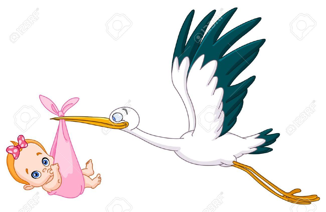 Cigogne Et Bébé cigogne portant un bébé fille clip art libres de droits , vecteurs