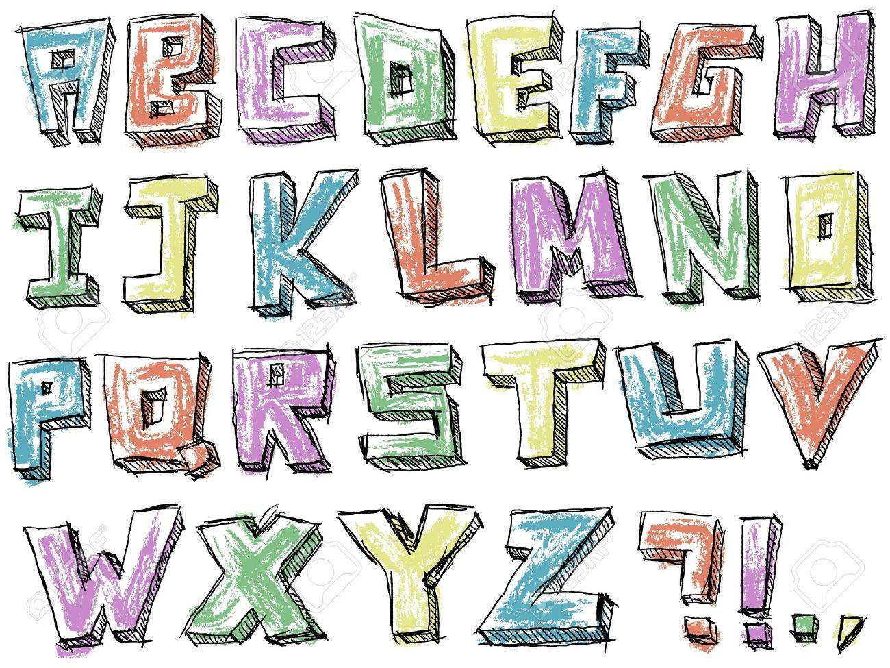 Colorful sketchy hand drawn alphabet Stock Vector - 20240827