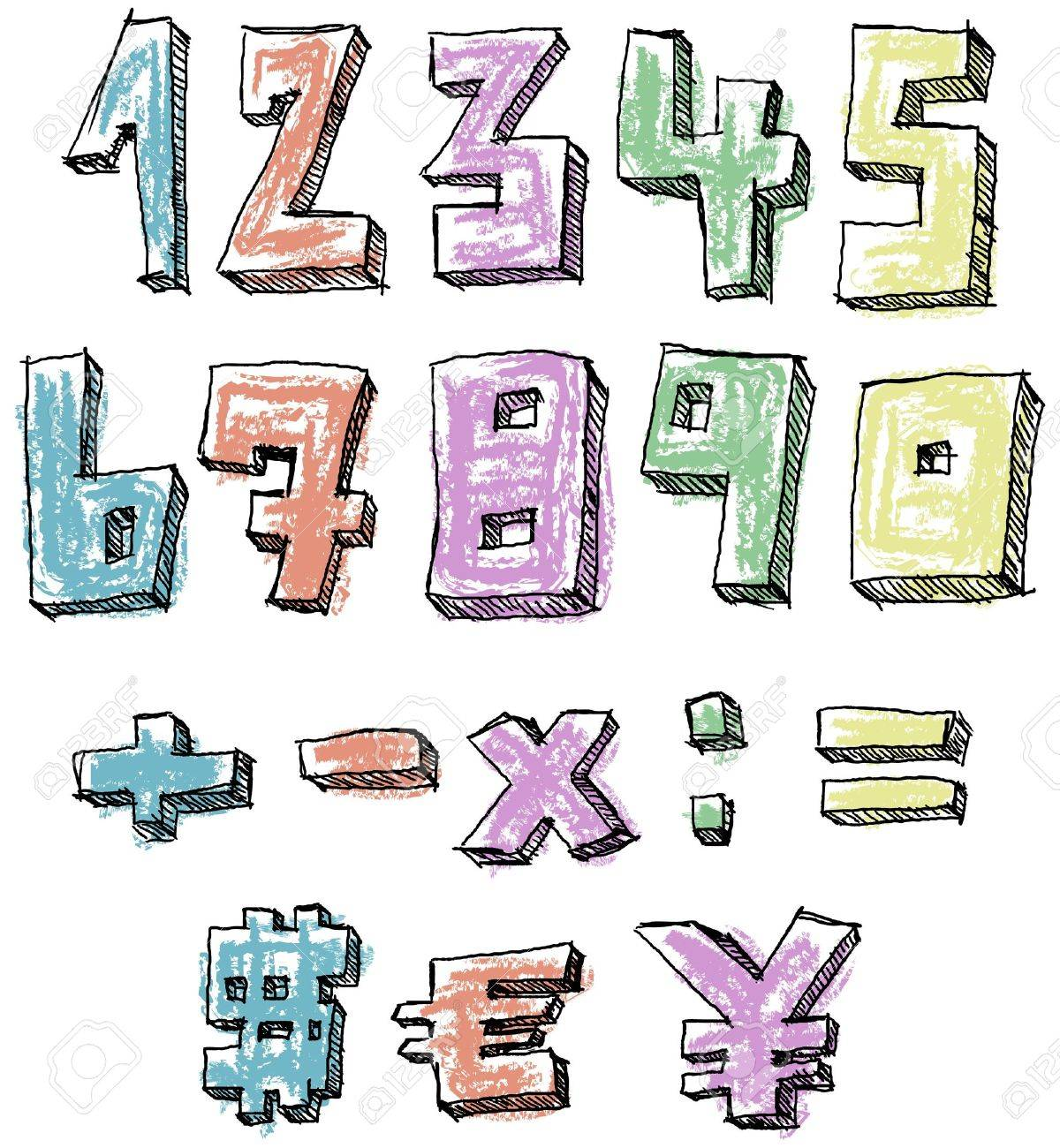 Colorful sketchy hand drawn numbers, math and currency signs Stock Vector - 20240825