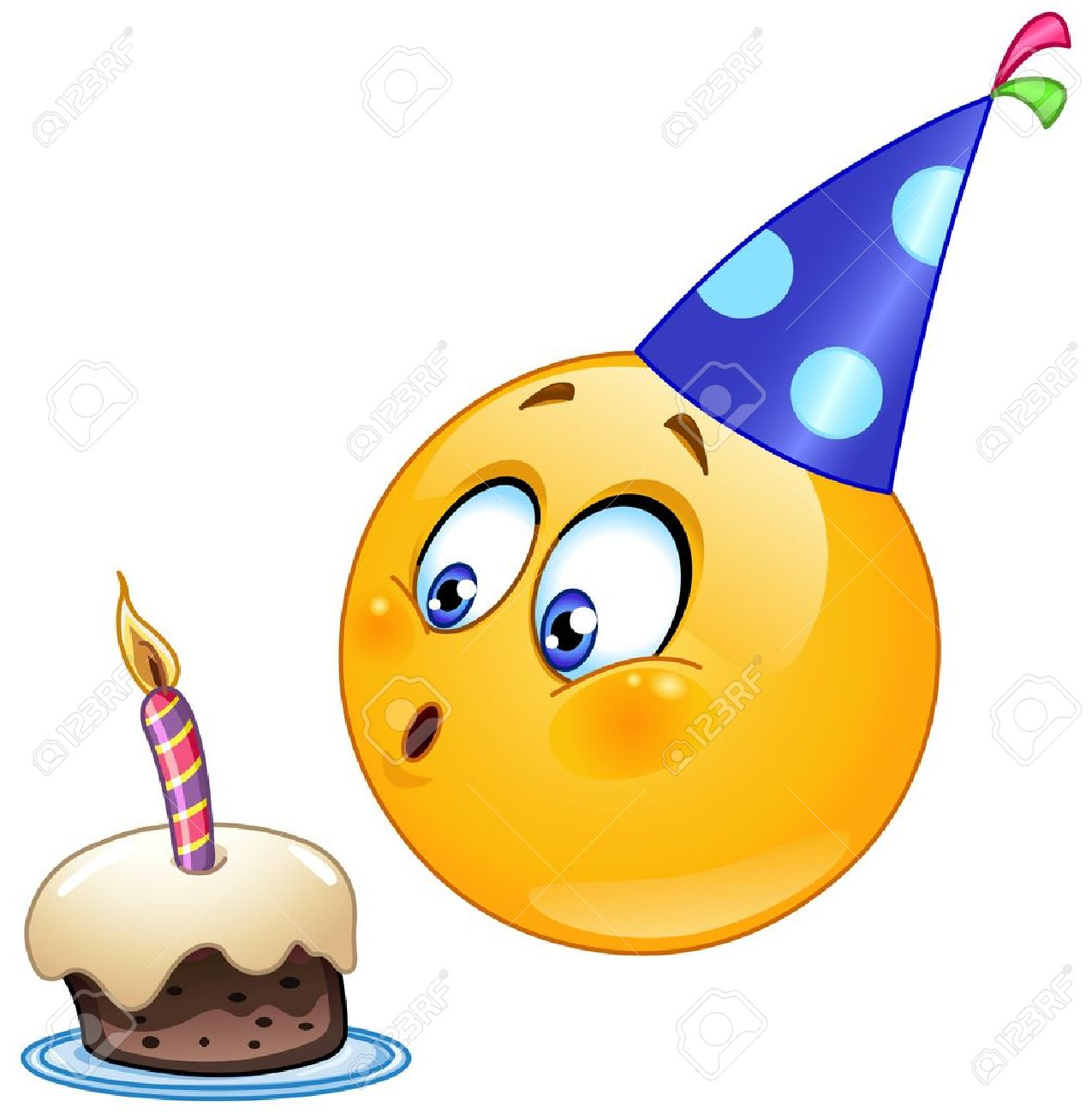 Birthday Emoticon Blowing Cake Candle Stock Vector