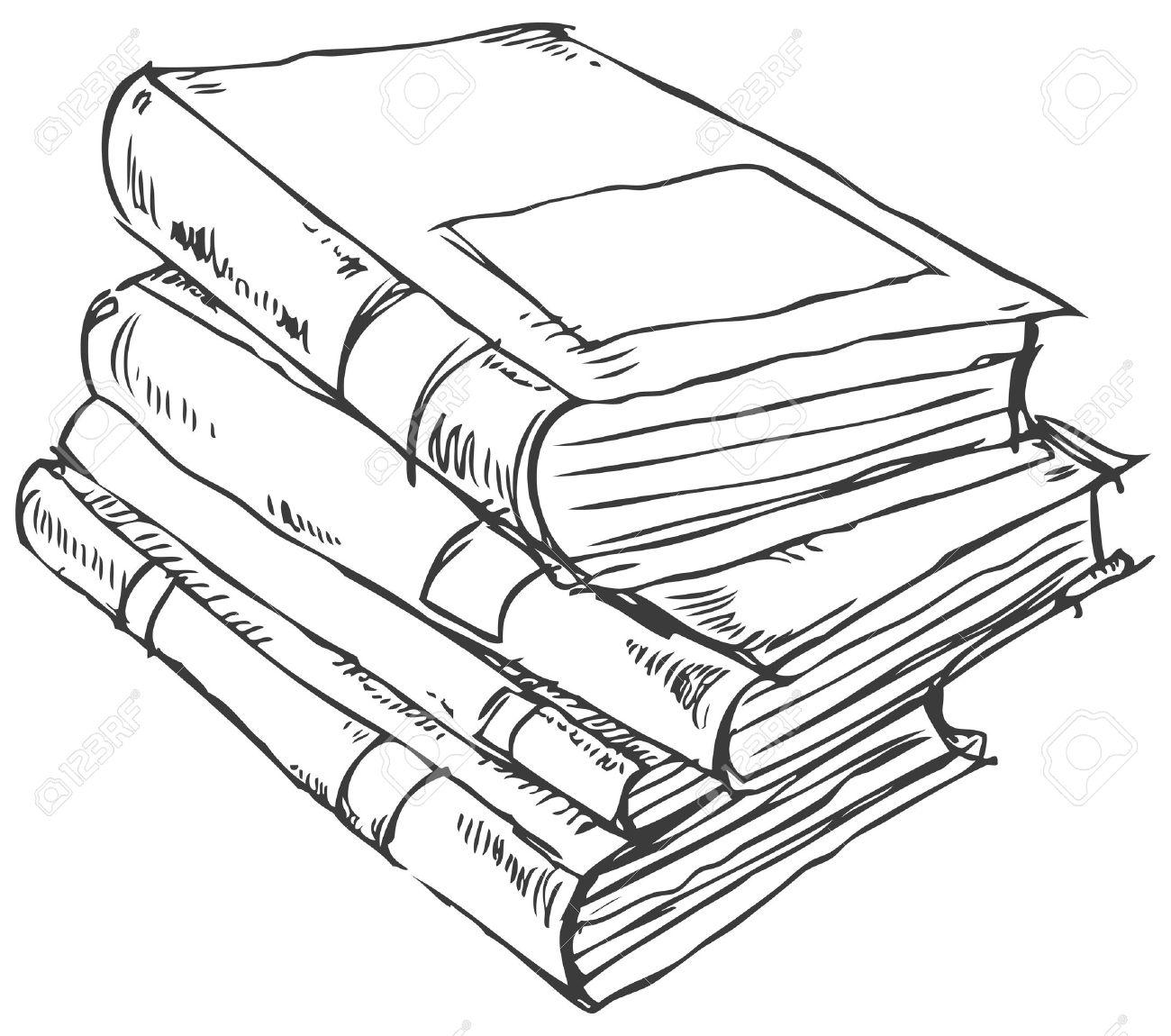 Bücherstapel gezeichnet  Bücherstapel Clipart Schwarz Weiß | grafffit.com