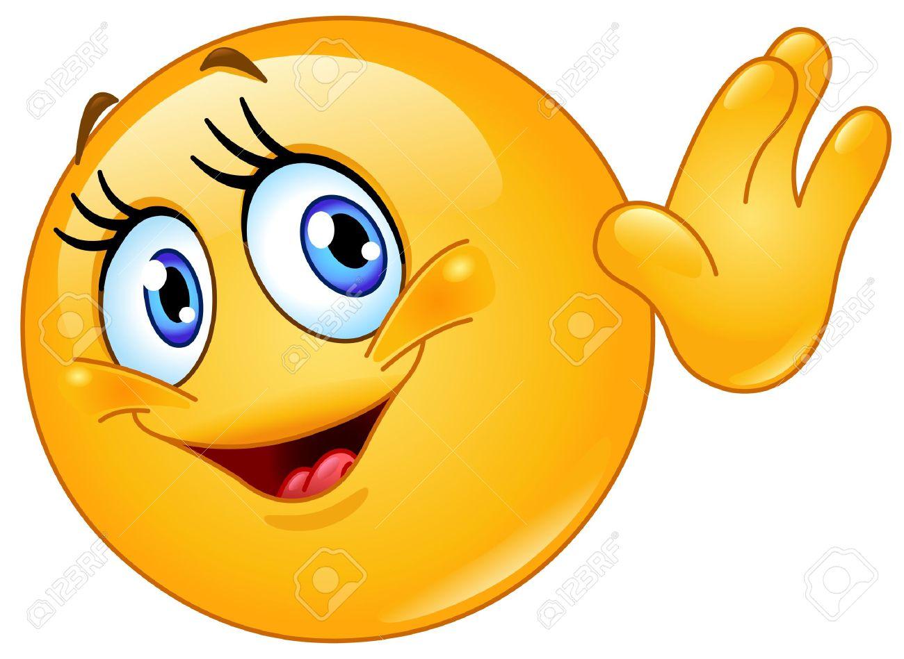Female emoticon waving hello - 21178840