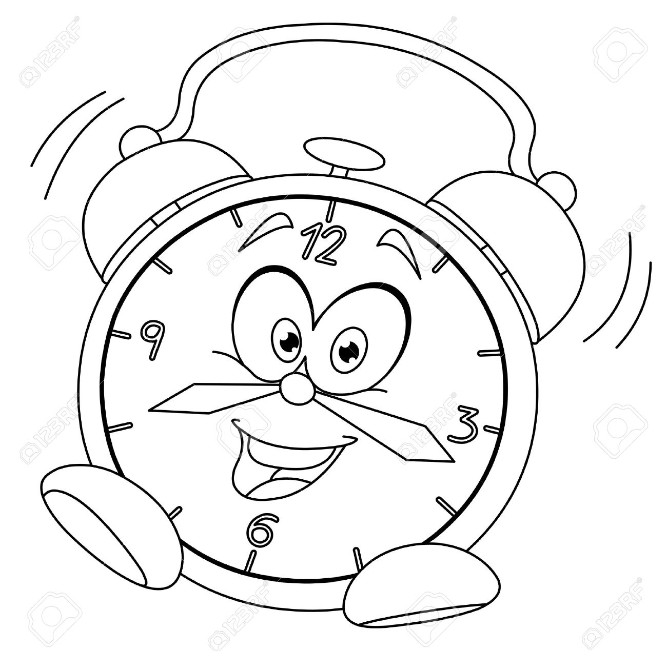 Outlined Cartoon Alarm Clock Vector Illustration Coloring Page Stock