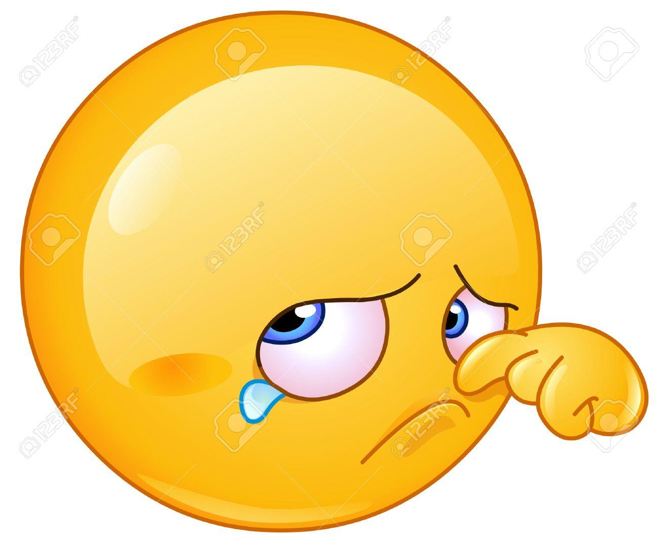 sad emoticon wiping tear royalty free cliparts, vectors, and stock