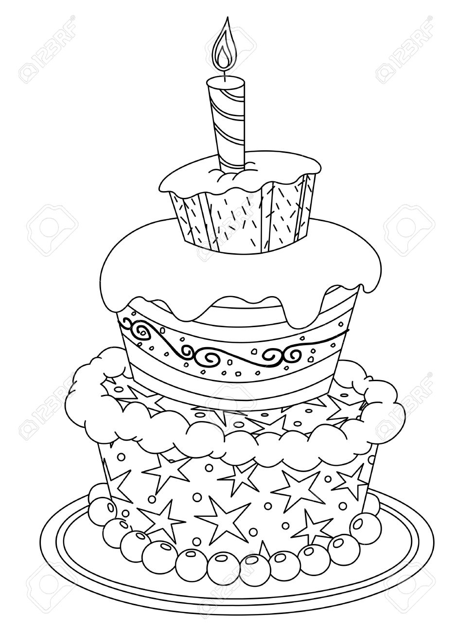 Outlined Birthday Cake Vector Illustration Coloring Page Stock