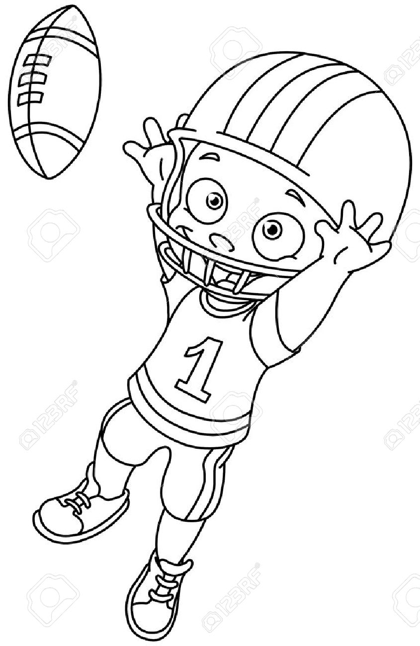 outlined football kid vector illustration coloring page royalty