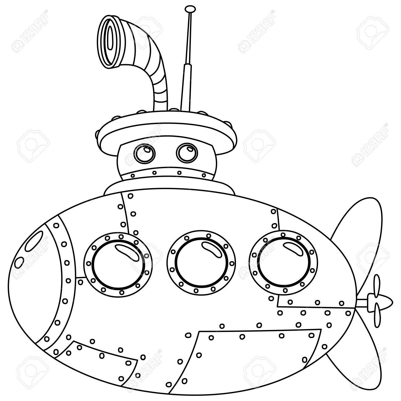 Outlined Submarine Vector Illustration Coloring Page Royalty Free