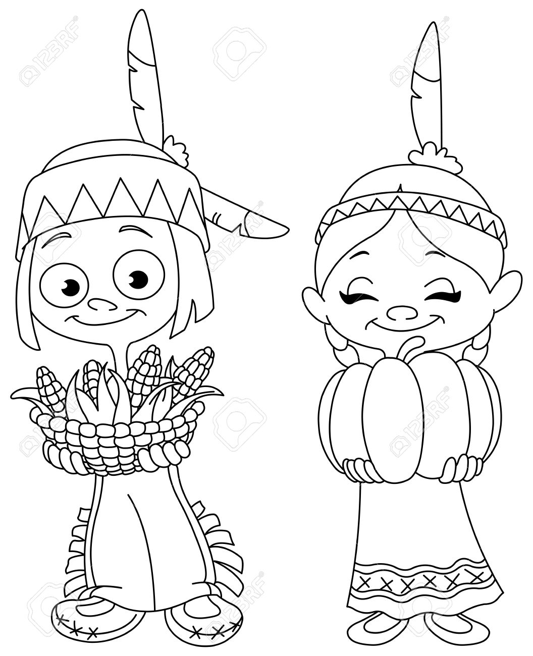Thanksgiving Indian Coloring Page. | Thanksgiving coloring pages ... | 1300x1056