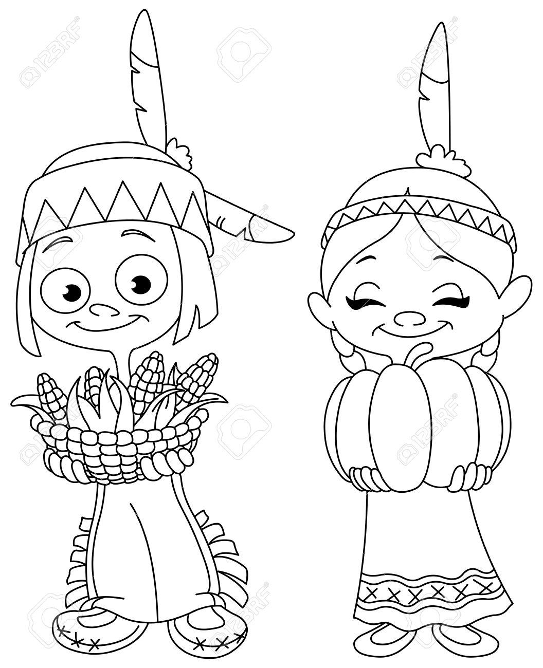 Skizziert American Indian Kinder Im Nahrung Für Thanksgiving. Vektor ...