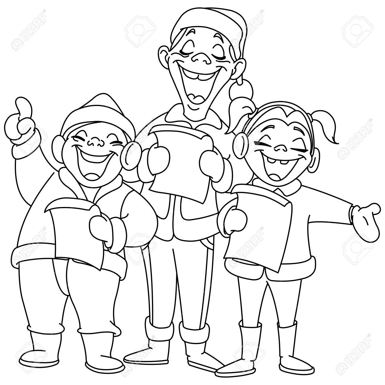 Outlined Christmas Carolers Vector Illustration Coloring Page Royalty Free Cliparts Vectors And Stock Illustration Image 33549022