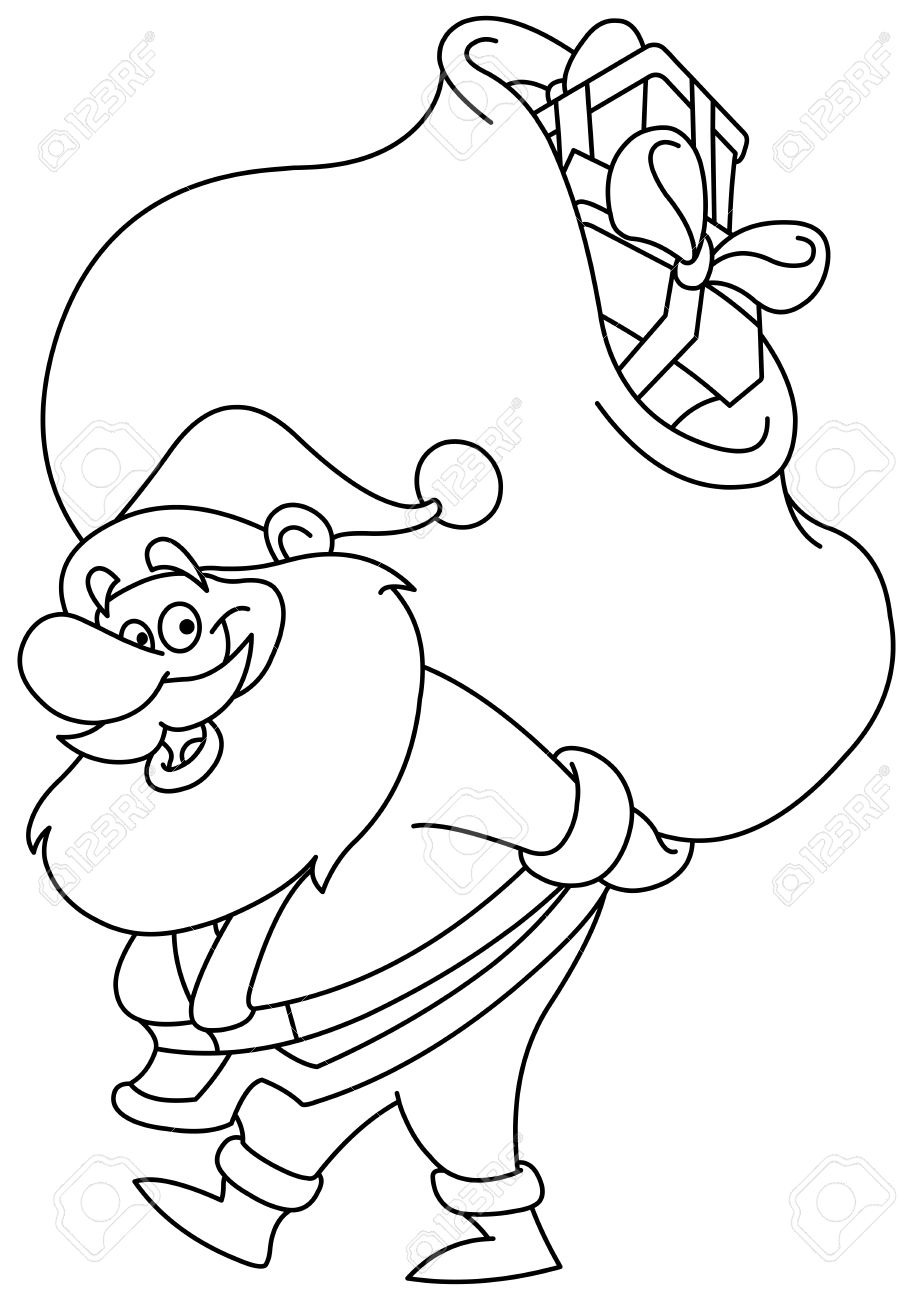 outlined santa claus carrying a big gifts sack on his back vector illustration coloring page