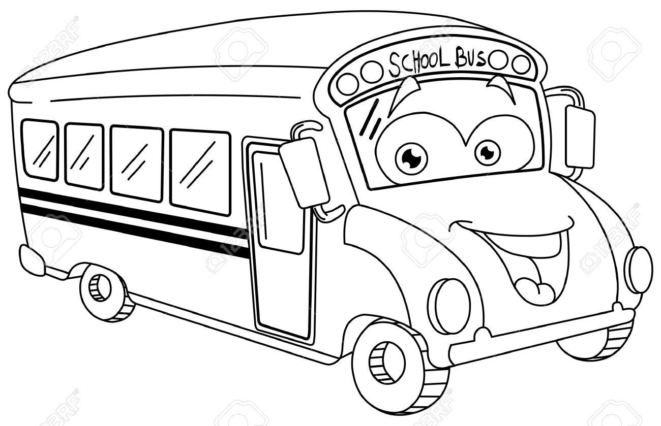 Dibujos Animados Autobús Escolar Contorneada Ilustraciones