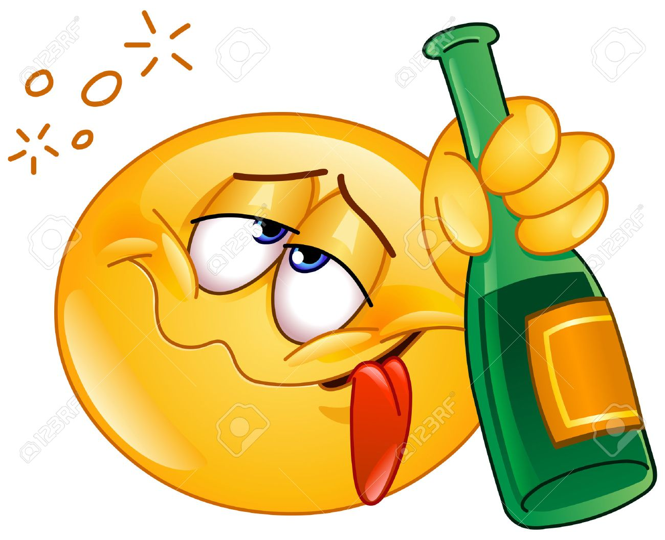 Drunk emoticon holding an alcoholic drink bottle - 35512034
