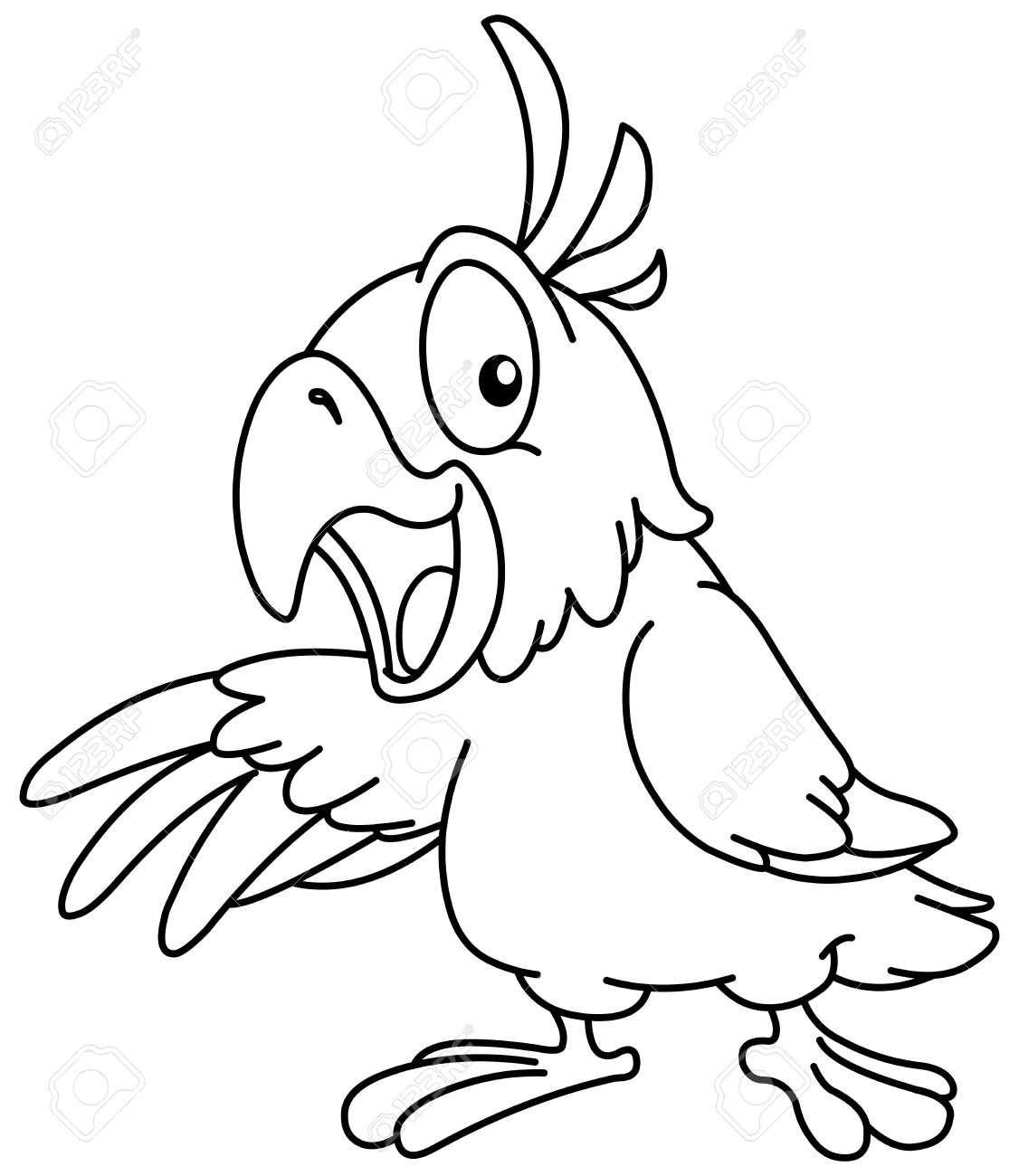 outlined cartoon parrot presenting with his wing vector