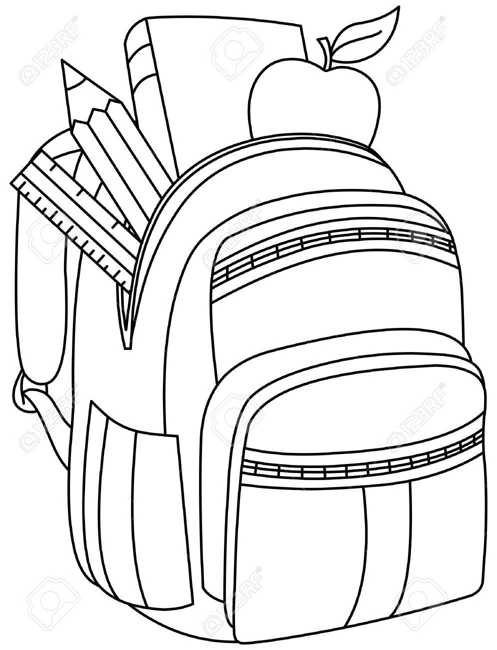 Esbozó Mochila Escolar Vector Ilustración De La Página Para Colorear