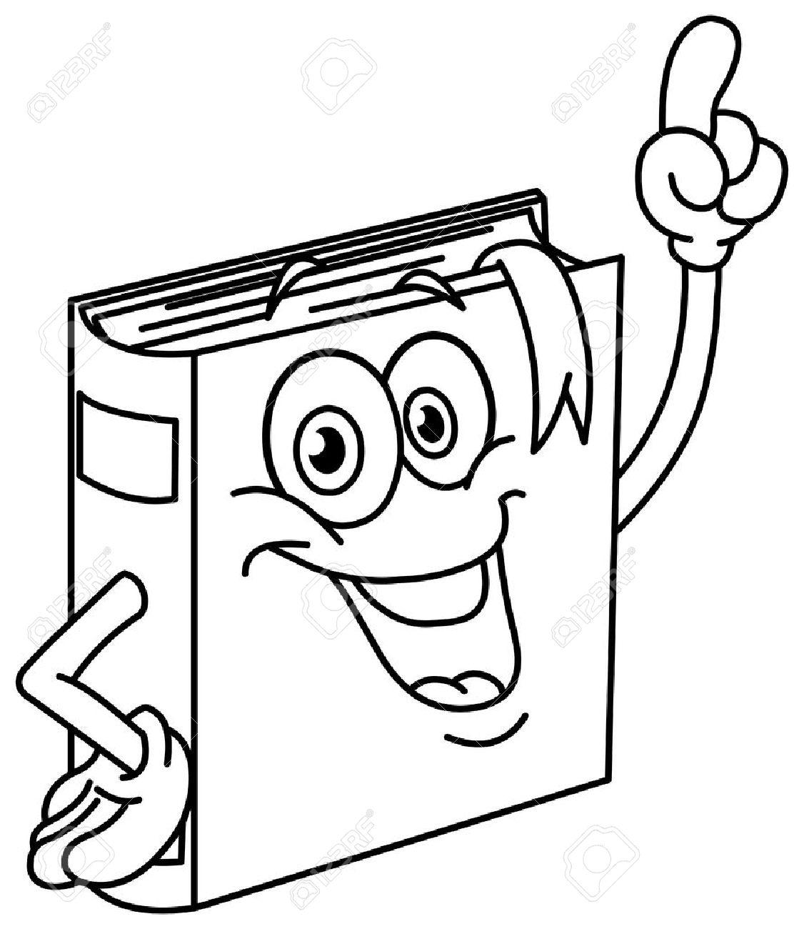 Esbozado Dibujo Animado Libro Señala Con Su Dedo. Vector Las