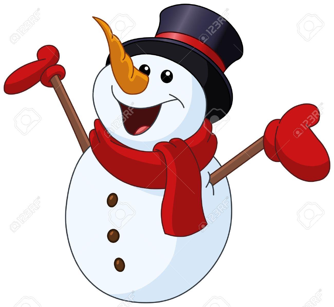 Glücklicher Schneemann Auf Der Suche Nach Oben Und Hob Die Arme