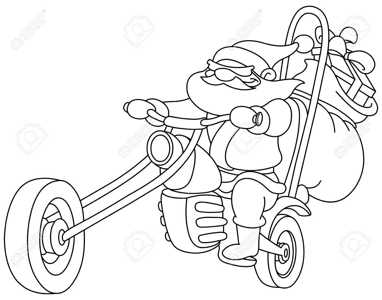 Skizziert Weihnachtsmann auf einem Motorrad Vector Illustration Malvorlagen Lizenzfreie Bilder