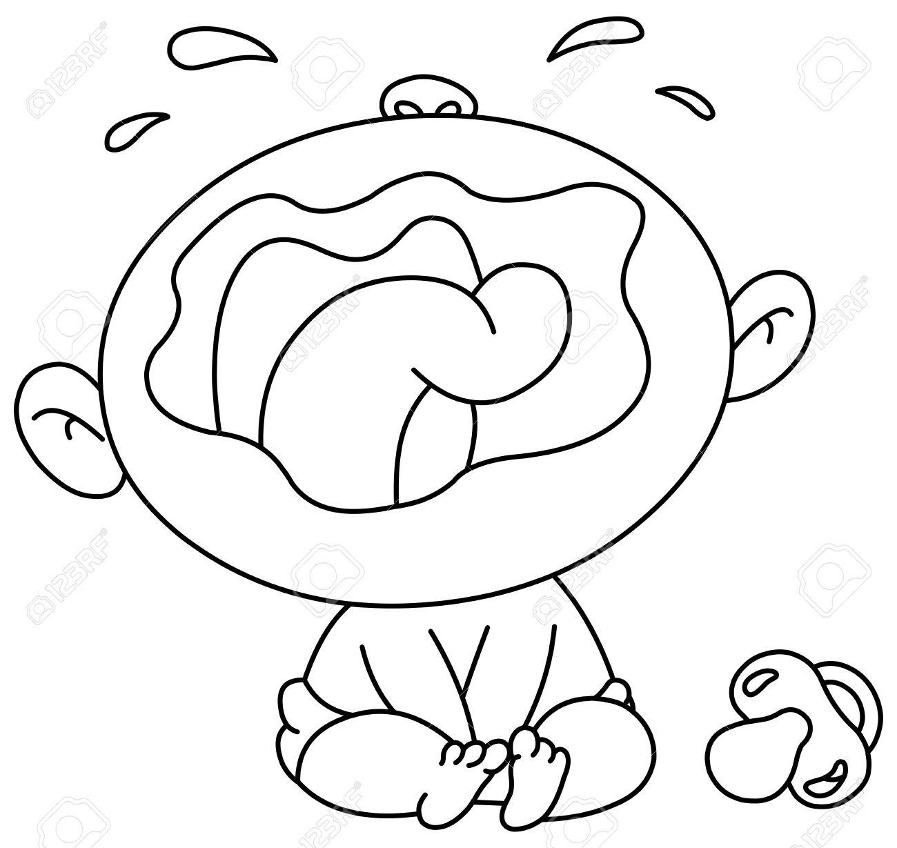 Coloriage Bebe Qui Pleure.Decrites Bebe Qui Pleure Vector Illustration De Coloriage Page