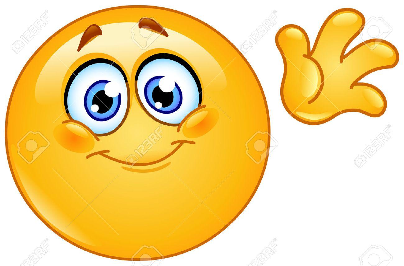 Cute Emoticon Waving Hello Royalty Free Cliparts Vectors And Stock