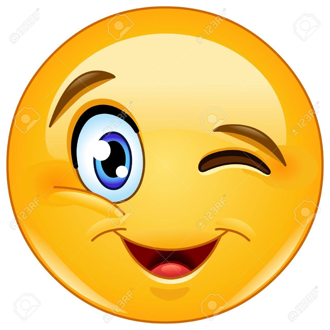 Guiño Y Sonriendo Emoticon Ilustraciones Vectoriales, Clip Art ...