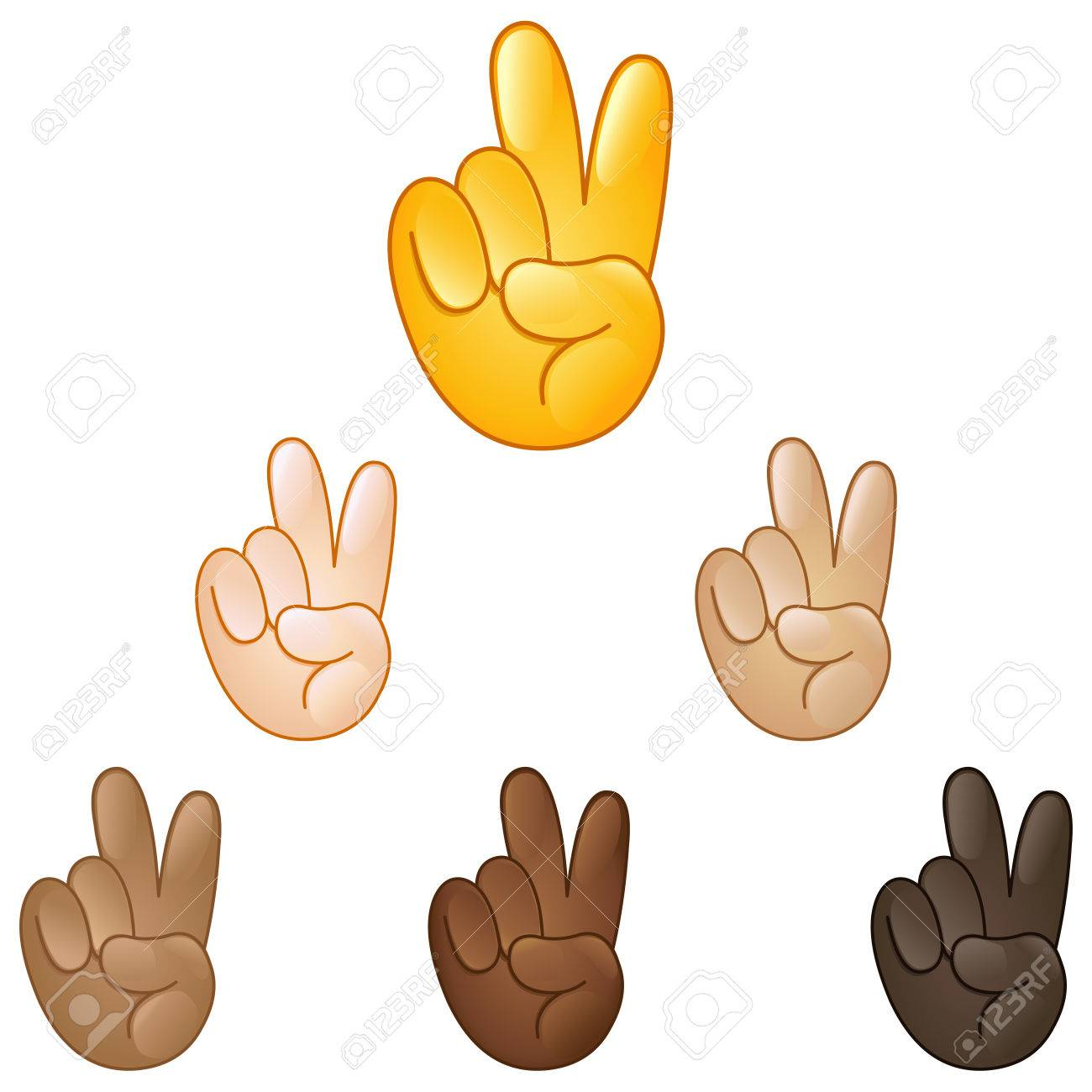 Victory hand emoji set of various skin tones - 57238497