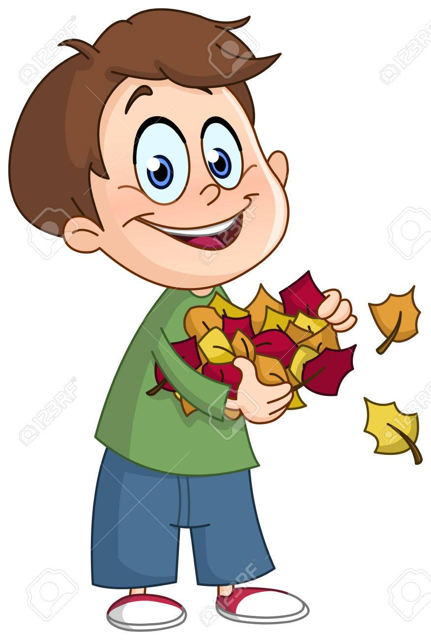 happy kid carrying autumn leaves royalty free cliparts vectors and rh 123rf com Happy Dance Clip Art Happy Thoughts Clip Art