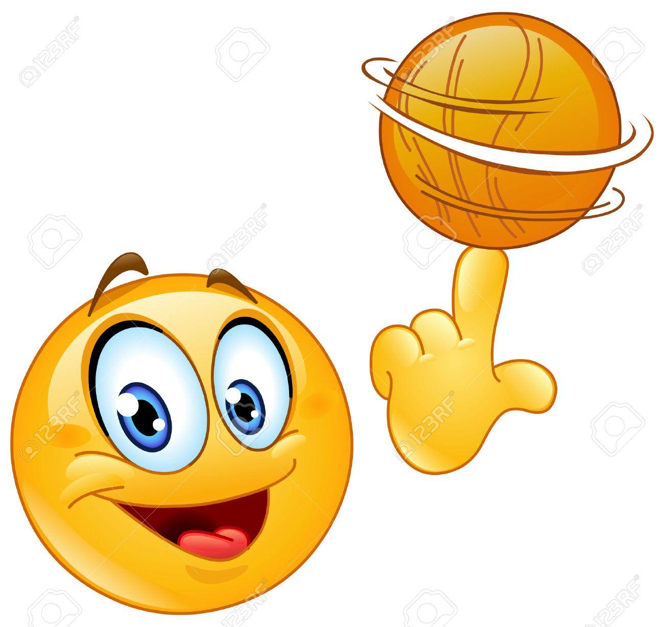 Spinning émoticônes Un Ballon De Basket à Son Doigt Clip Art