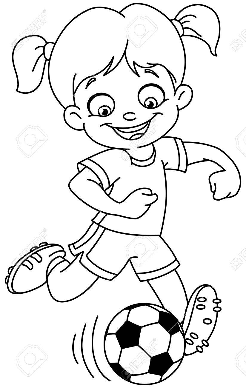Outlined Young Girl Playing Soccer Vector Line Art Illustration