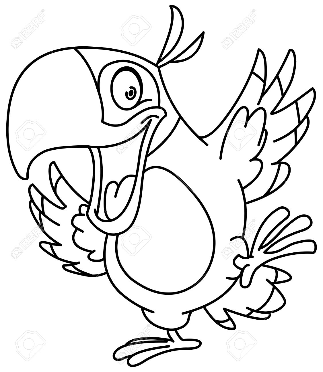 outlined happy parrot dancing vector line art illustration